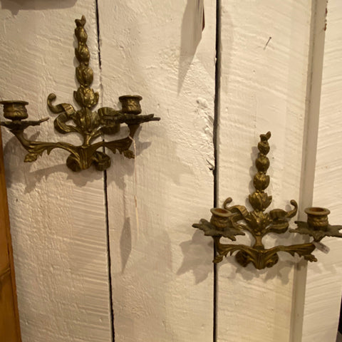 Pair of Petite Metal Candle Sconces