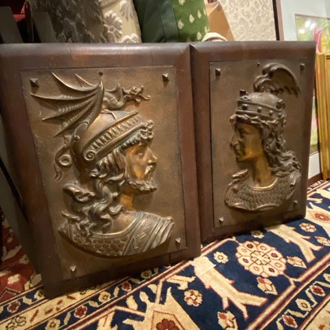 Pair of Bronze Viking Friezes of Siegfried & Brunhilde in Wood Frames