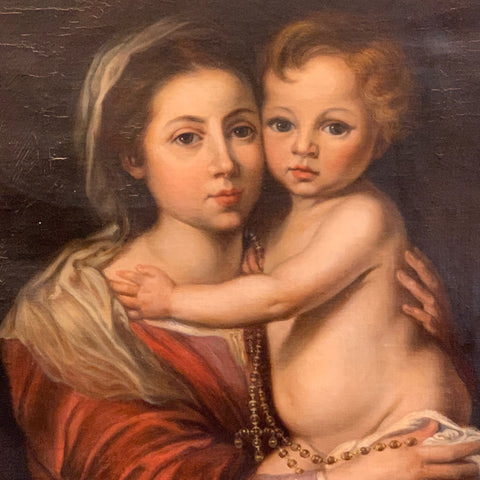 19th Century Painting of Madonna and Child