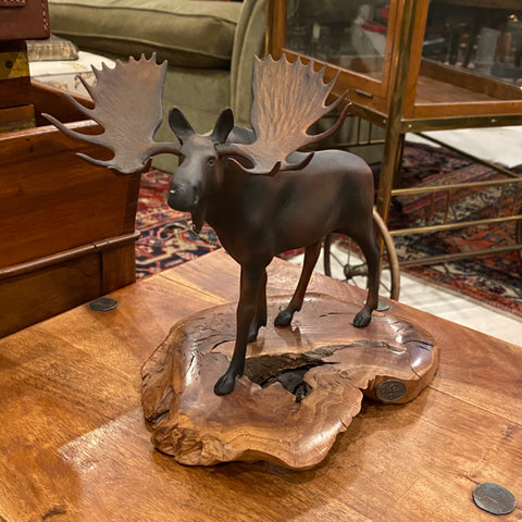 Metal Moose Sculpture on Wood Base
