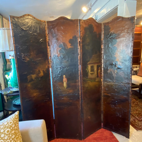 Leather Hand Painted Room Dividing Screen