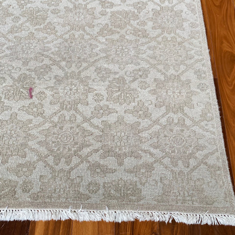 Ben Solanani Tonal Beige Wool Rug, as is (spot)