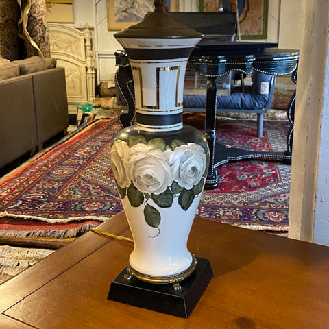 Black and White Lamp with White Roses