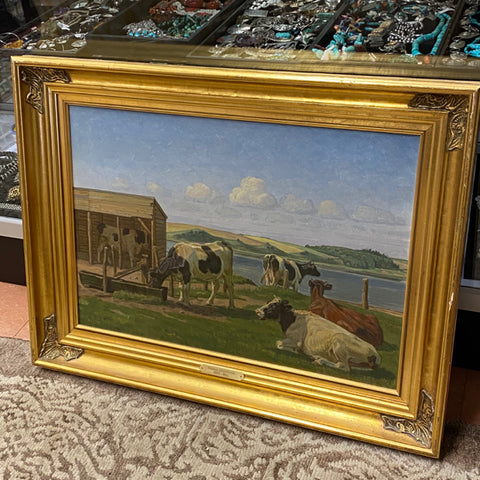 Cows and Pasture Oil Painting by Rasmus Christensen, Signed, in Gilt Frame
