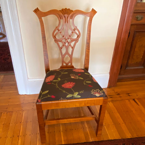 Bench Made Tiger Maples Chippendale Dining Chairs, Set of 8