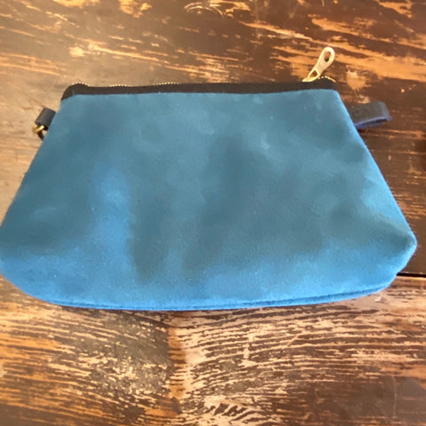 Tahoe Blue Suede Tapered Pouch