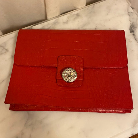 La Marca Red Leather Envelope Clutch