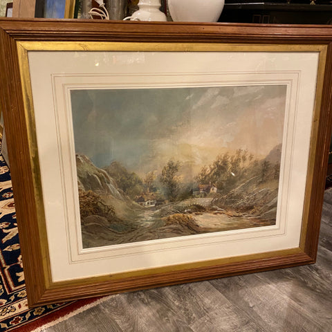 Mountain Valley Landscape Painting, signed