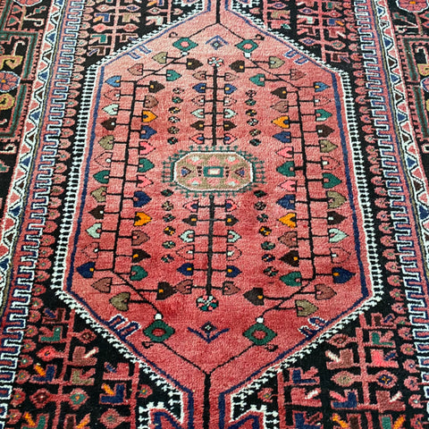 "Raspberry & Black Heriz Rug 5'2"" x 10'6"""