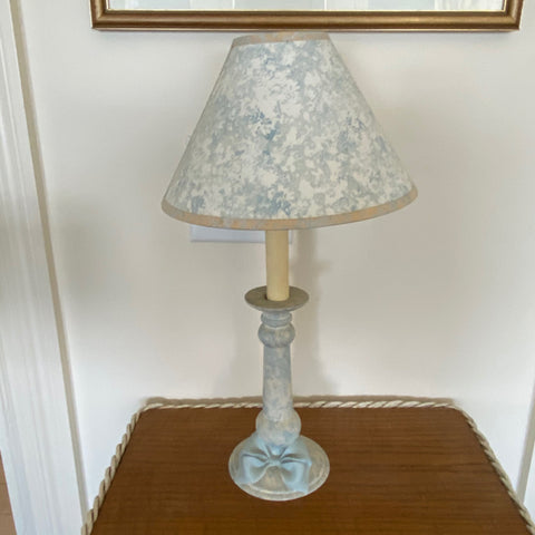Pale Blue Marbelized Candlestick Lamp with Ribbon Detail
