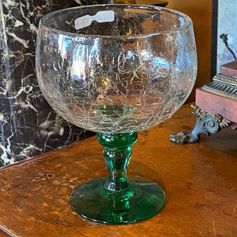 Large Crackle Glass Goblet