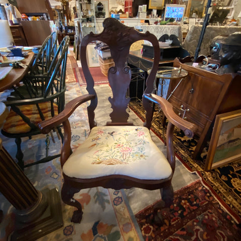 Queen Anne Chair with Needlepoint Seat