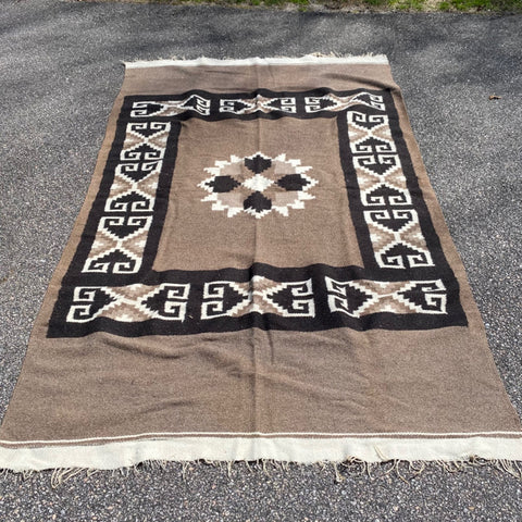 Brown, Black White Navajo Rug 4' x 6'7""