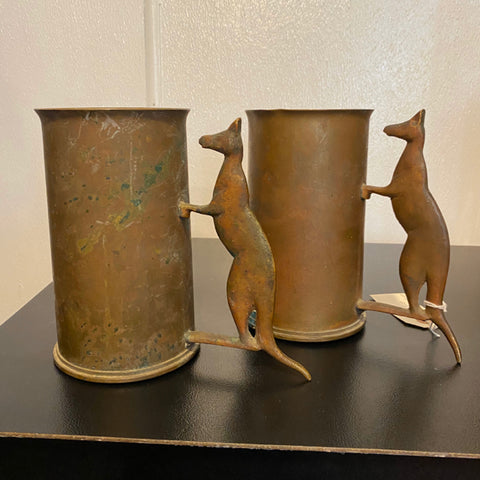 Pair of Australian Trench Art Copper Mugs from WW1 & WW2