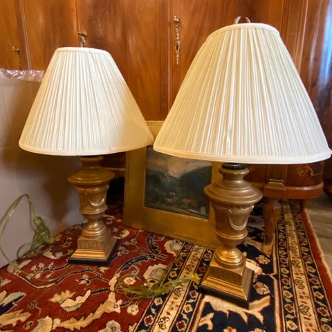 Pair of Gold Tone Metal Urn Lamps