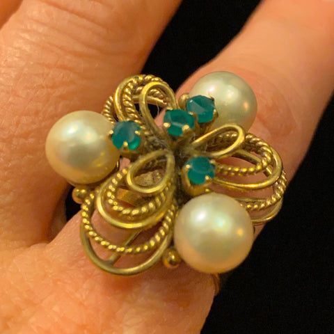 Emerald & Pearl 18k Cocktail Ring