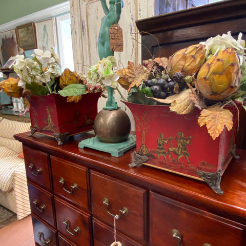 Pair of Red Tole & Gold Chinoiserie Planters with Faux Flowers