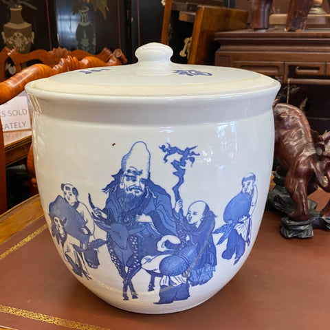 Large Blue & White Asian Pot with Lid