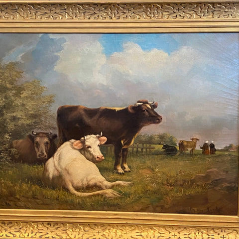 Oil on canvas of Cows, signed by Em von Muncke in a Foster frame