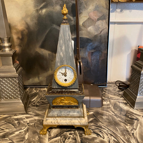 French Art Deco Stone Obelisk Clock