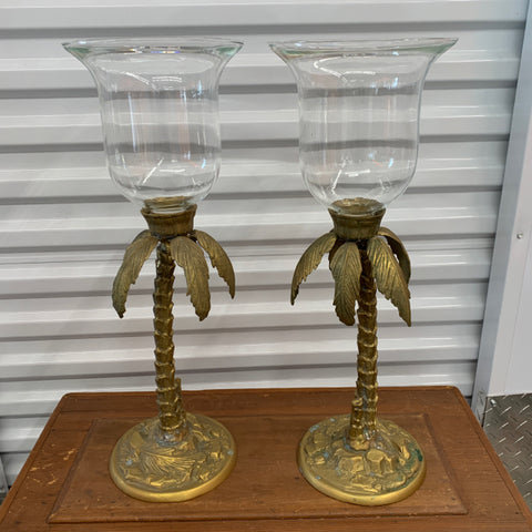 Decorative Crafts Inc Brass Palm Tree Candle Holders