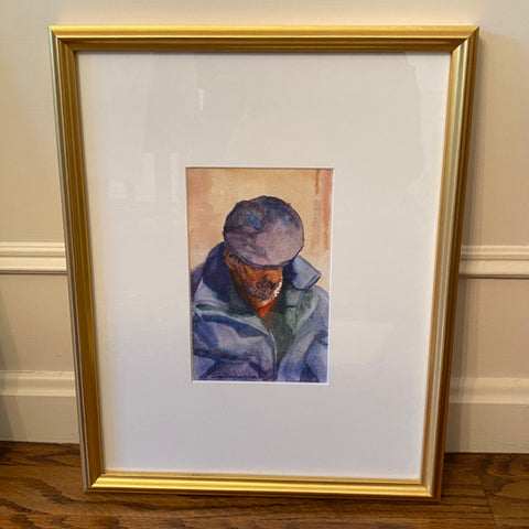 Man in Blue Watercolor Portrait by Joan Boghossian, 1998