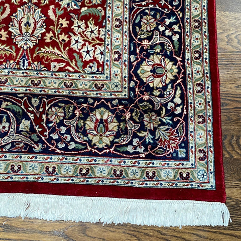 Red and Navy Handmade Floral Persian Rug 6' x 9'7""