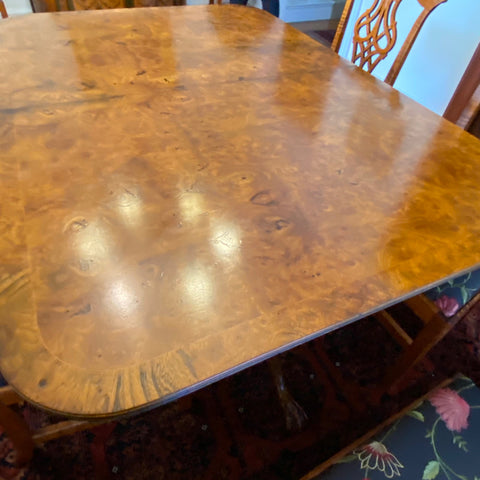 Walnut Burl Double Pedestal Dining Table with Ball & Claw Feet, 2 Leaves