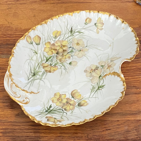 Porcelain Yellow and White Floal Dish with Gold Trim