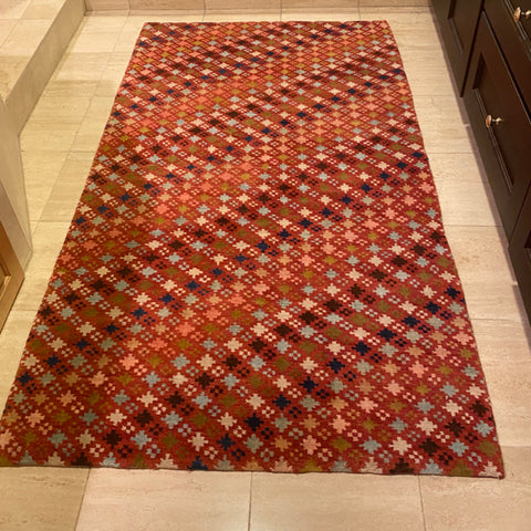 "Red Multi Geometric Star Rug 3'2"" x 6'2"""