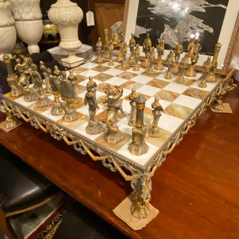 Benzoni Sterling Silver & Gold Plated Chess Set