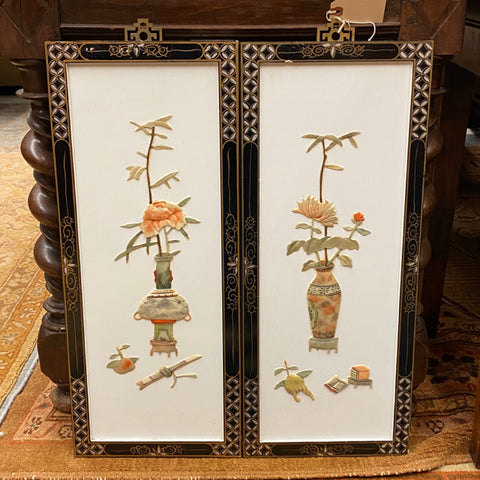 Pair of Chinoiserie Panels, White Background with Vases