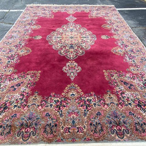 "Large Fuchsia Central Medallion Persian Rug 8'8"" x 12'7"""