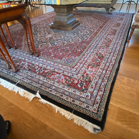 "Red Blue and Black Bidjar Persian Rug 9'1"" x 12'4"""