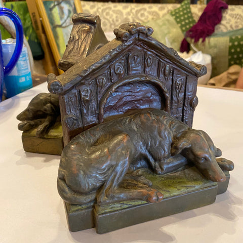 Pair Antique circa 1920's Galvano bronze clad Grayhound dogs on guard bookends