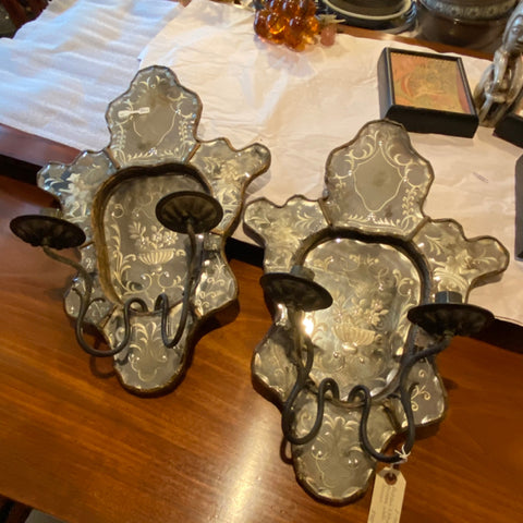 Antique Etched Mirror Wall Sconces