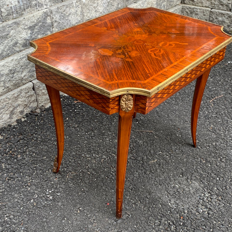 Floral Marquetry Side Table with Brass Trim & Ormolu