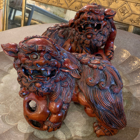Pair of Carved Wood Foo Dogs, Signed
