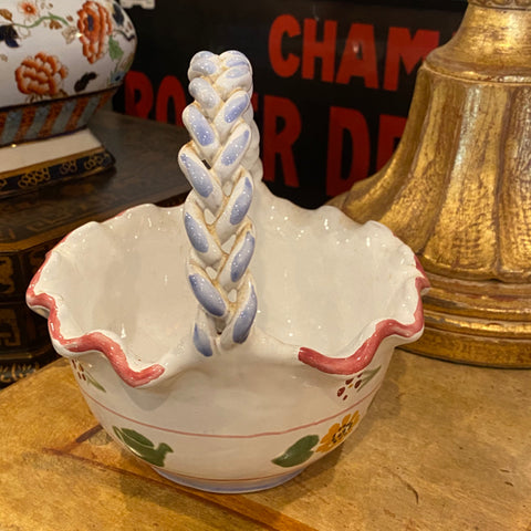 Stenciled Basket with Braided Handle