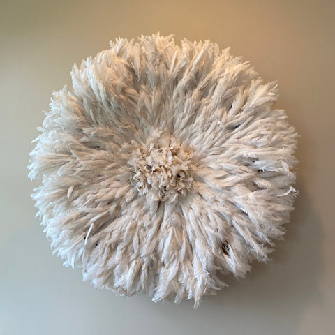 White Feather Juju Hat Wall Sculpture