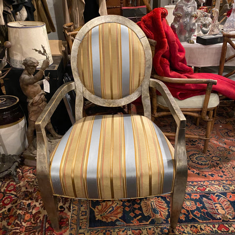 Balloon Back Swaim Chair with Striped Upholstery & Silver Tone Frame