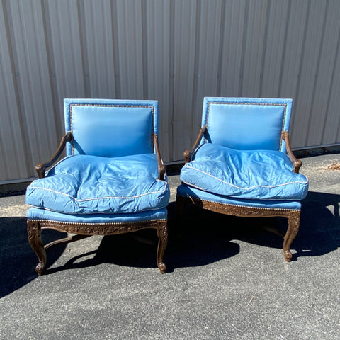 Pair of Carved Framed Blue Satin Down Cushion Arm Chairs