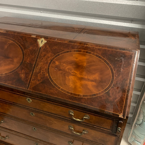 Inlaid Secretary Drop Front Leather Top Desk with 4 Drawers, as is