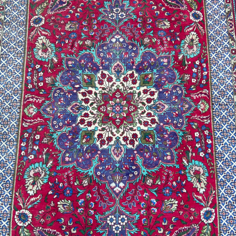 "Red & Purple Central Medallion Floral Motif Persian Rug 6'9"" x 9'5"""
