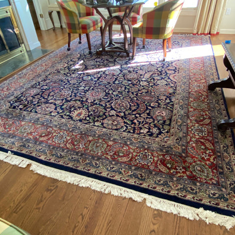 "Navy Blue & Salmon Floral Paisley Persian Rug 8'10"" x 12'3"""