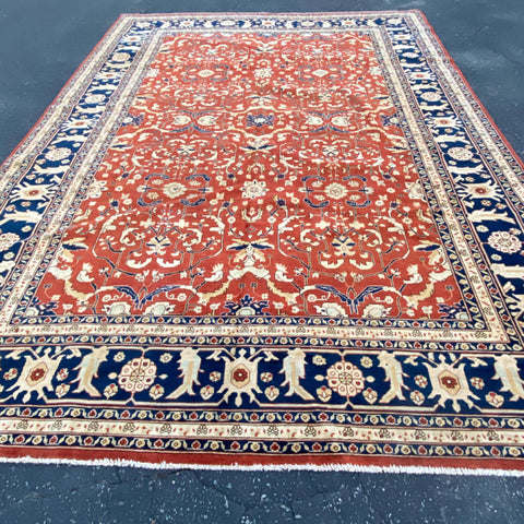 "Burgundy Floral Tabriz Rug with Navy Border 9'7"" x 13'"