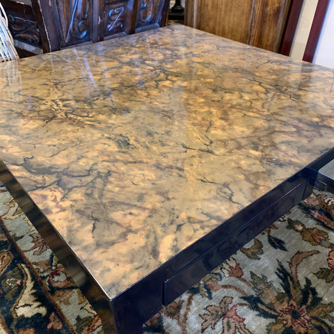 Black Lacquer Coffee Table with Faux Marble Top