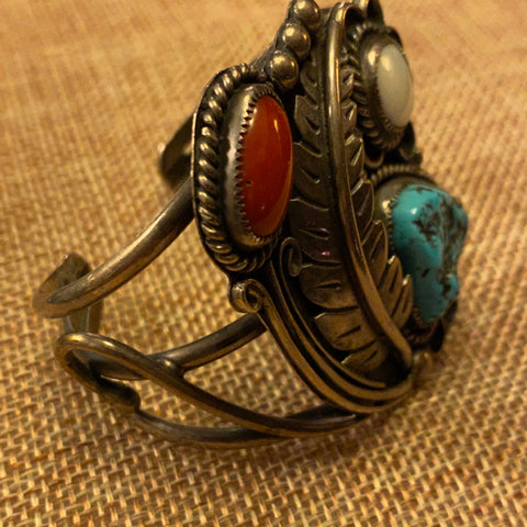 Sterling, Turquoise, coral and Mother of Pearl Cuff