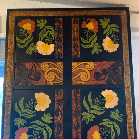 Carved Wood Wall Panel Featuring Floral Motif and Metal Accent