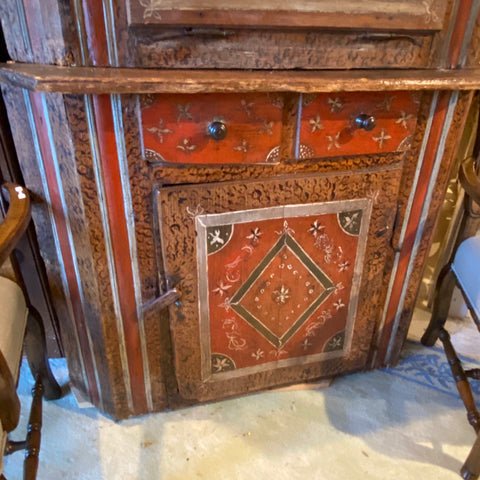 Hand Painted Dutch Corner Cupboard Cabinet